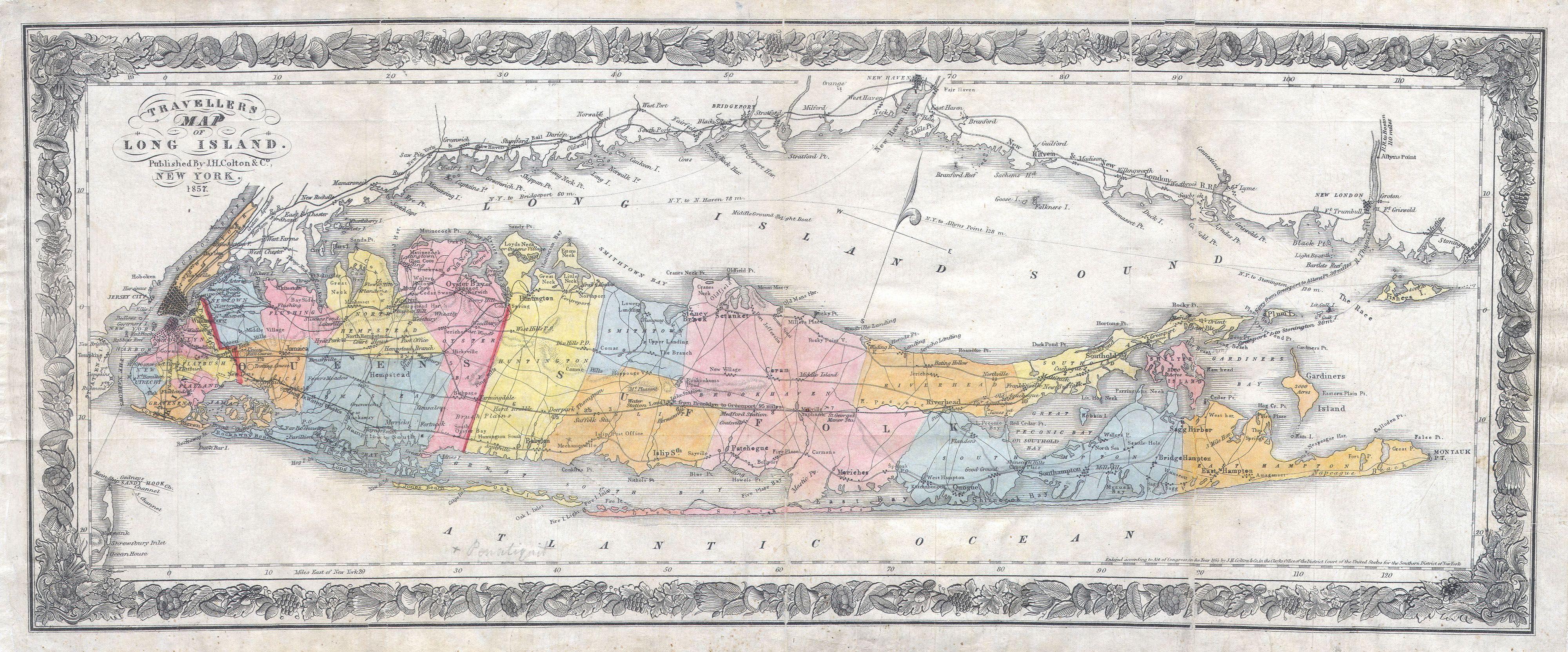 Map Of New York And Long Island.Long Island History Local History